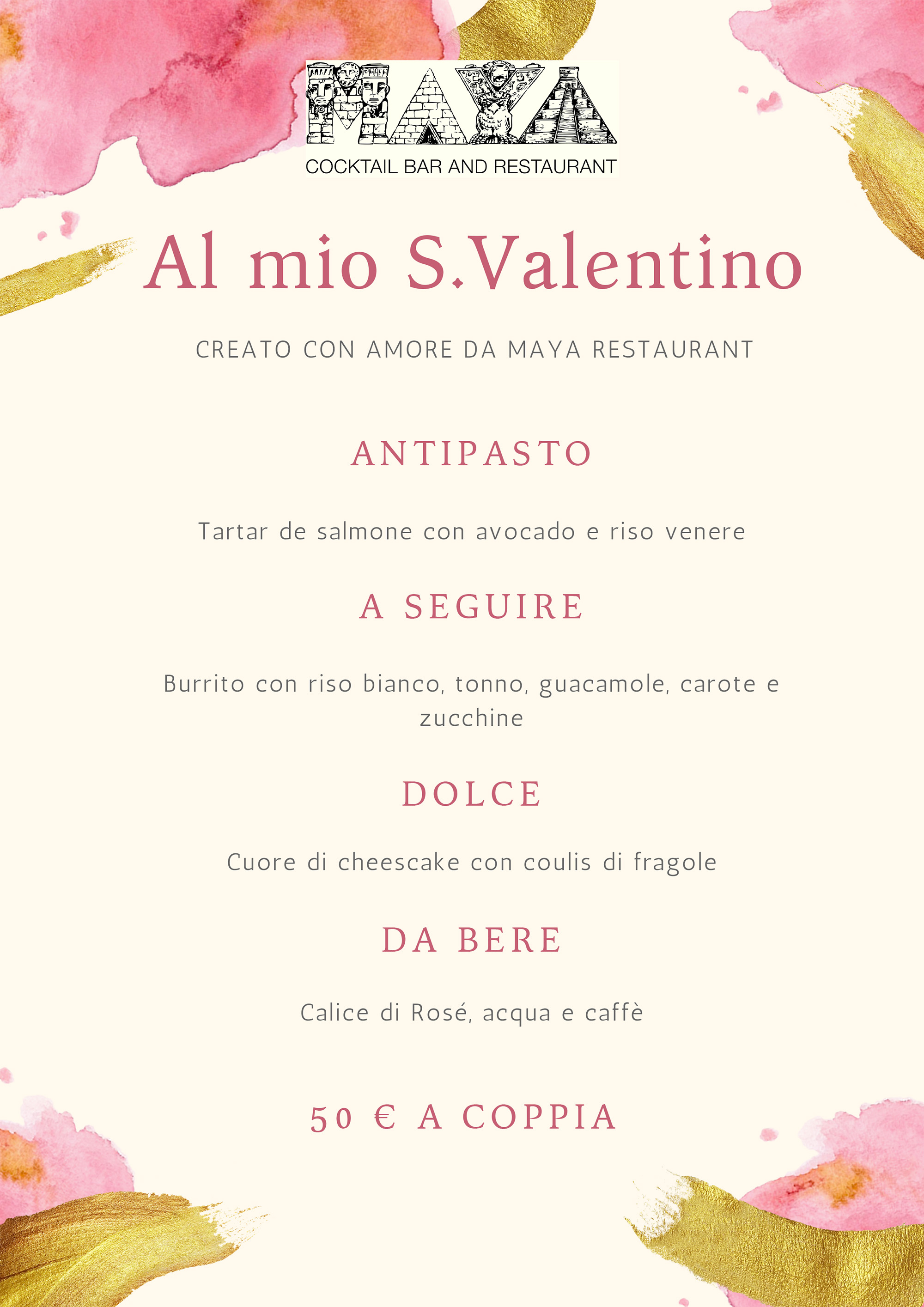 Pink and Cream Sparkly Valentine's Day Food and Drink Menu